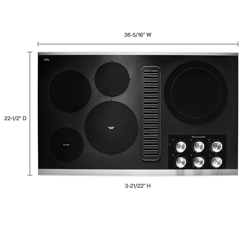 "36"" Electric Downdraft Cooktop with 5 Elements KCED606GSS"