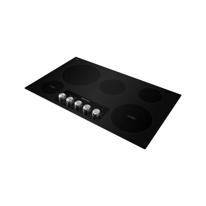 "36"" Electric Cooktop with 5 Elements and Knob Controls KCES556HBL"