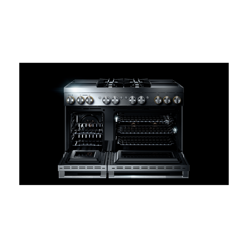 "RISE™ 48"" Dual-Fuel Professional Range with Dual Chrome-Infused Griddles JDRP848HL"