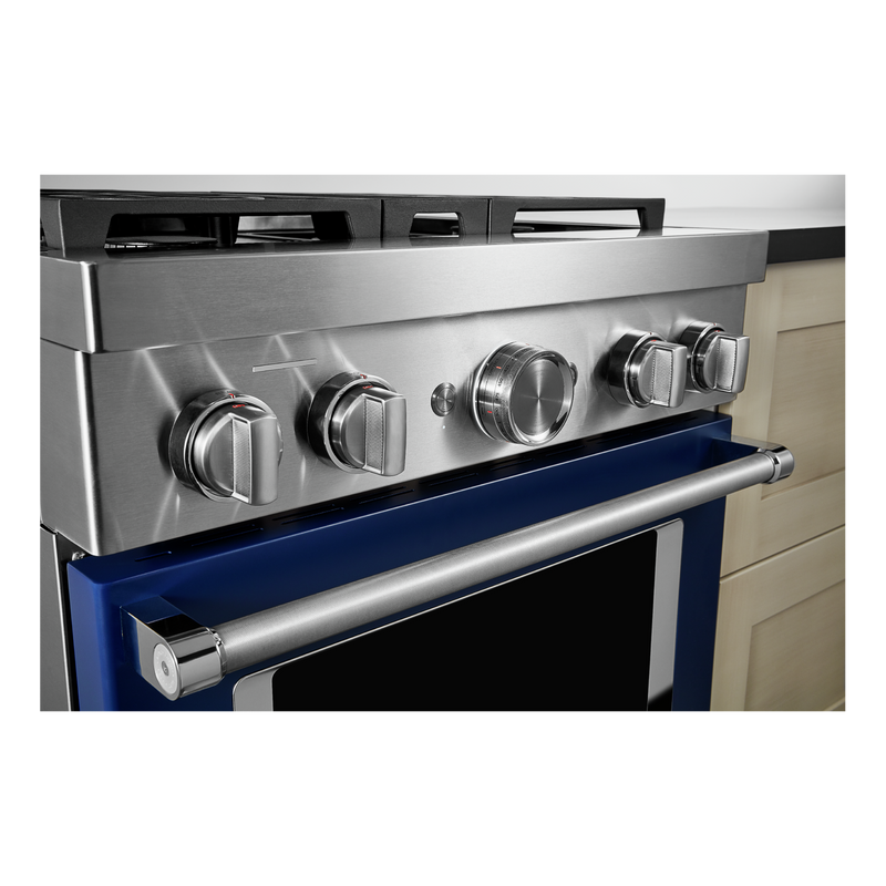 KitchenAid® 30'' Smart Commercial-Style Dual Fuel Range with 4 Burners KFDC500JIB