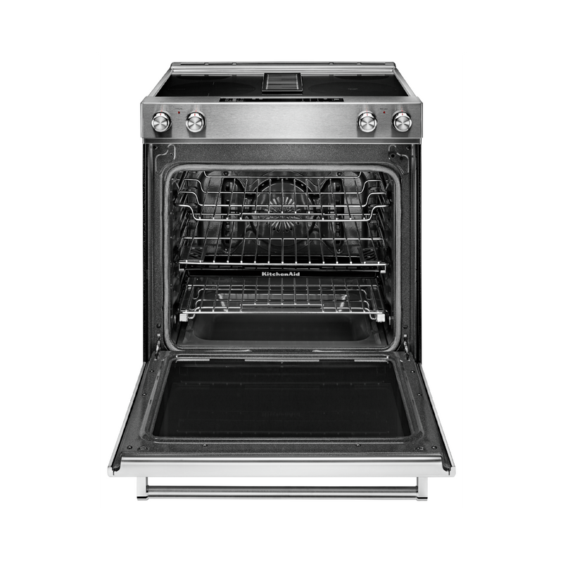 30-Inch 4-Element Electric Downdraft Front Control Range KSEG950ESS