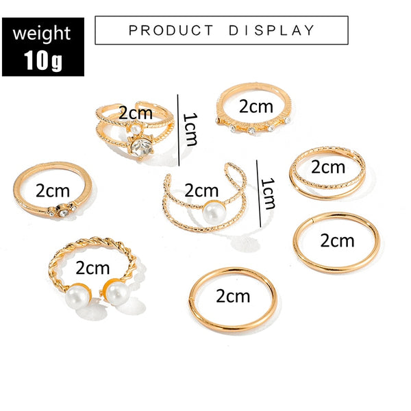 8Pcs Gold Open Pearl Rings