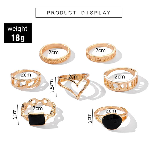 7Pcs Gold Rings