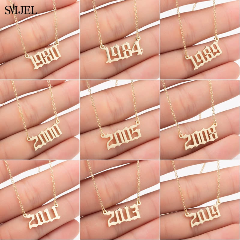 Personalize Year Number Necklaces