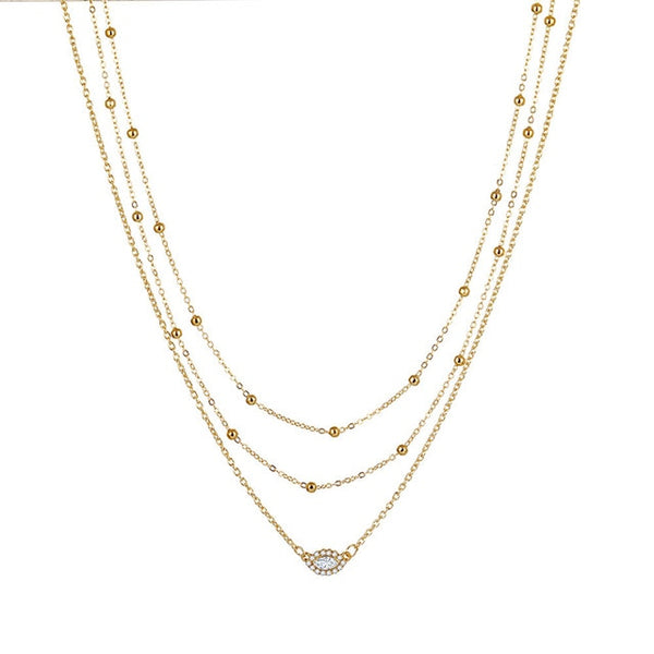 Long Gold Layered Necklace