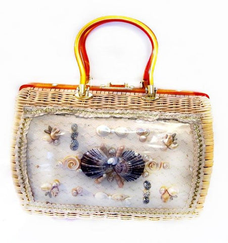 1950s vintage wicker handbag with shell design