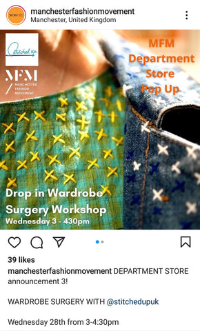 Insta post from MFM of Stitched Up Wardrobe Surgery event
