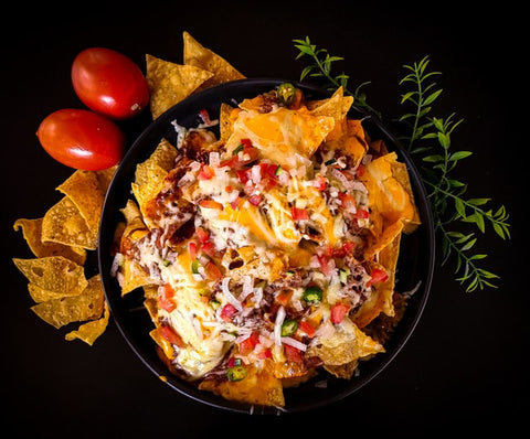 Bowel of nachos and cheese