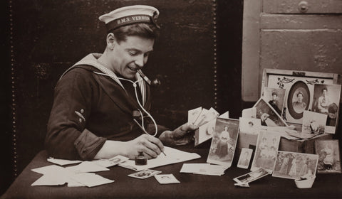 Vintage image of a sailor writing love letters, Unsplash