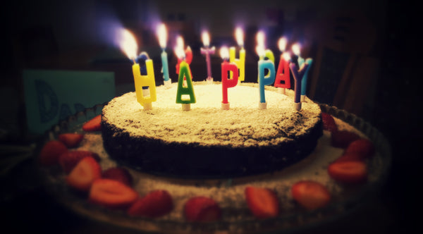 Birthday cake with 'Happy' candles
