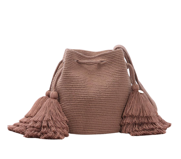Chila Rola bucket handwoven bag with tassels in coco