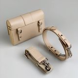 Kate CHI Crossbody bag, beige leather/wooden side walls model lifestyle image Kate CHI Crossbody bag, beige leather/wooden side walls & straps