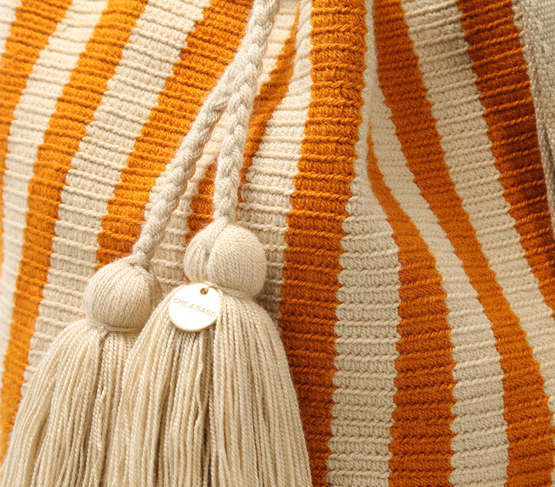 Chila Lora handwoven bucket bag stone/orange stripe close up