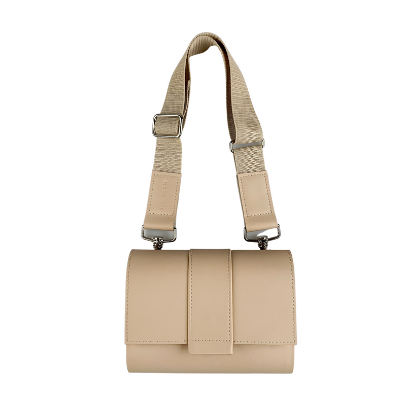 Kate CHI Crossbody bag, beige leather/wooden side walls front-facing, short strap