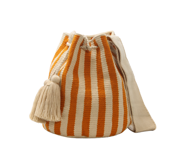 Chila Lora bucket bag stone/orange, natural fibres