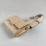 Kate CHI Crossbody bag, beige leather/wooden side walls overhead