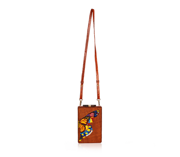 GUSTOKO Chouko clutch handwoven & embroidered bag, long strap