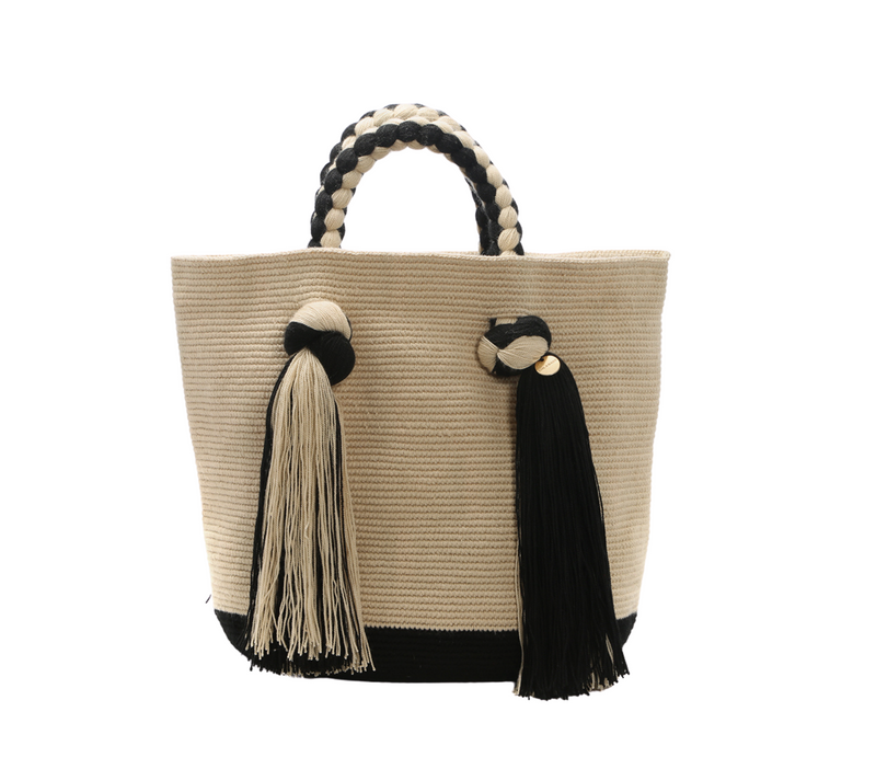 Chila Juanma natural fibres tassel tote bag stone/black