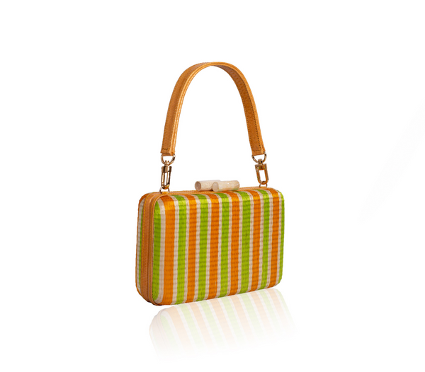 Natural fibers GUSTOKO Ribbon Clutch bag orange/lime, profile