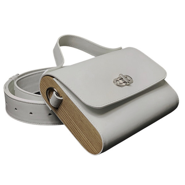 KATE CHI purse, white Italian leather with wooden side walls, on strap