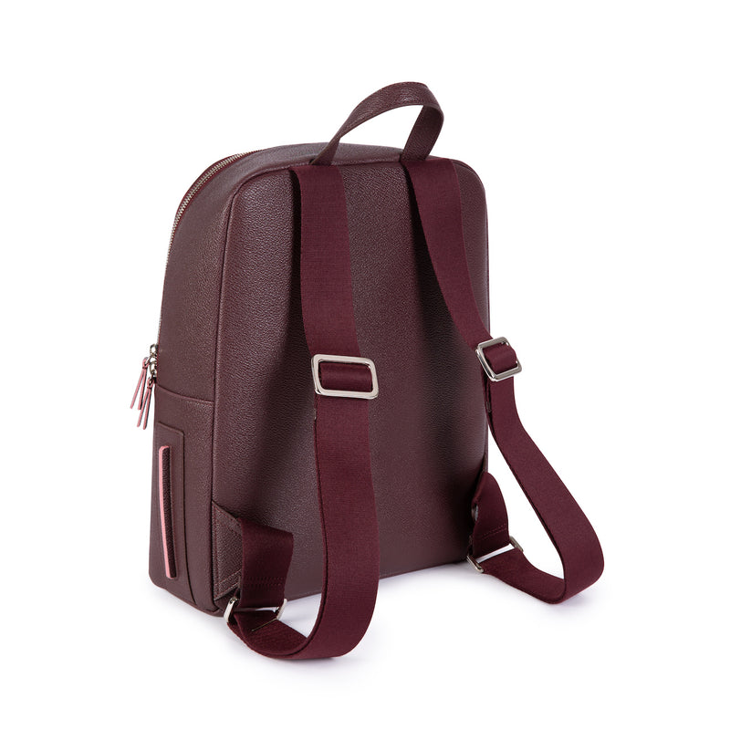 LUXTRA Farrell vegan backpack, burgundy/rose, rear view & straps