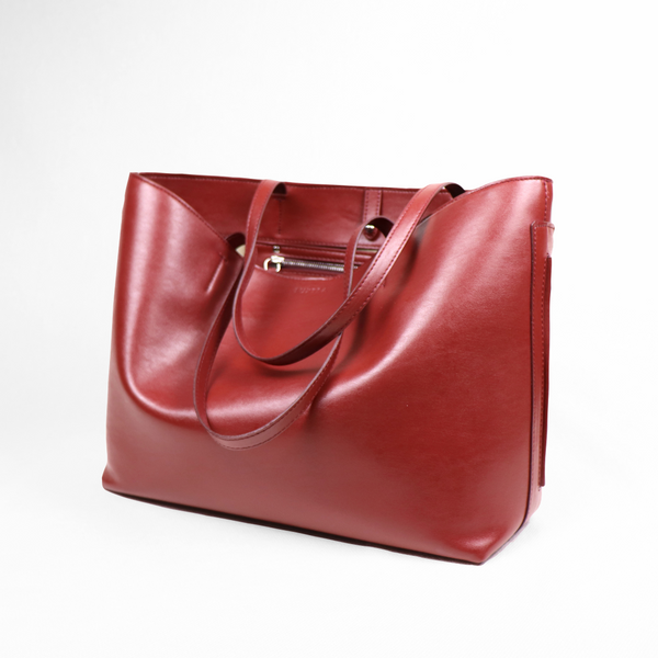 Plant-based Leather Maya Open Tote - Dark Cherry