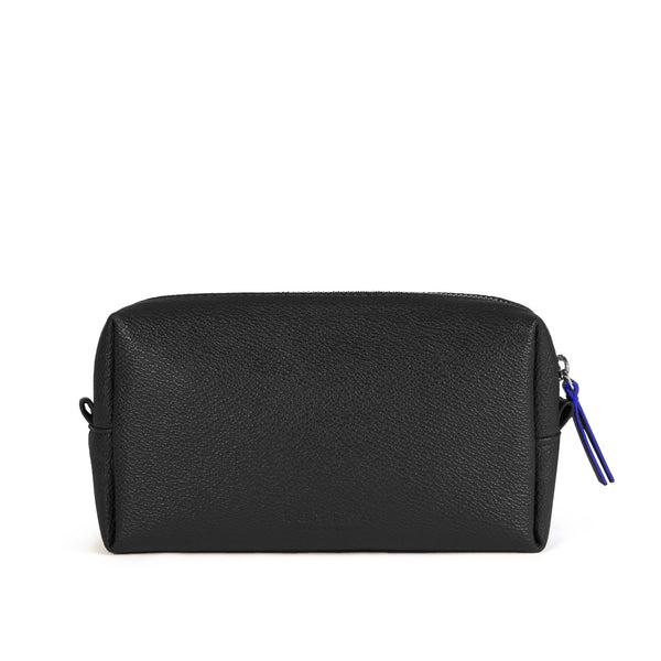 LUXTRA vegan wash bag, black/blue, closed