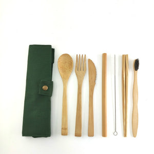 Bamboo Travel Cutlery Set Bamboo Spoon, Fork, Knife,and Reusable Straw Cleaner For Travel