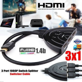 Switch Splitter Hdmi 3 x 1 Hub FULL Hd 3d Tv Bluray Ps4 Deco Pc TV BOX
