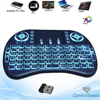 Mini Teclado Inalambrico Wireless Touchpad Luces Bateria Recargable