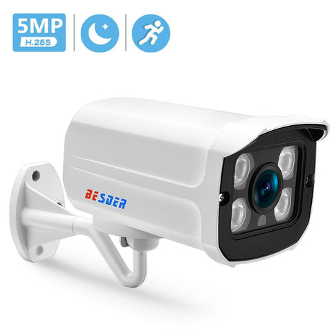 BESDER H.265 IP Camera 5MP/3MP Metal Case Waterproof Outdoor CCTV Camera IR Night Vision Security Video Surveillance ONVIF P2P