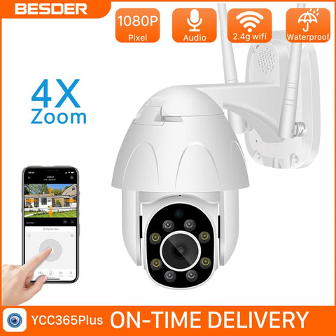 BESDER Wireless 1080P PTZ Camera Outdoor IP66 Waterproof ONVIF Two-Way Audio Talk Wifi Security IP Camera 30m Night Vision CCTV