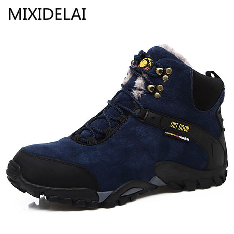 MIXIDELAI New Couple Unisex Boot Men Boots Fashion Quality Winter Snow Plush Ankle Boots For Men's Warm Boots Ankle Work Shoes