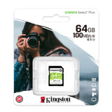 Memoria Card SD Kingston Canvas Select Plus, 64 GB, UHS-I Speed Class 1 (U1).