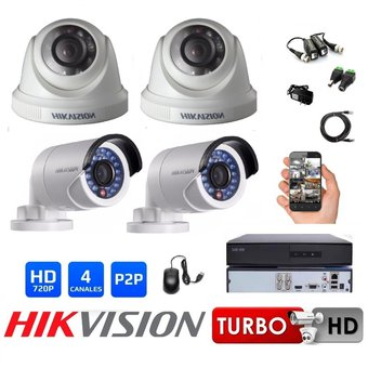 Hikvision - Kit 4 Camaras Seguridad DVR HD 720p