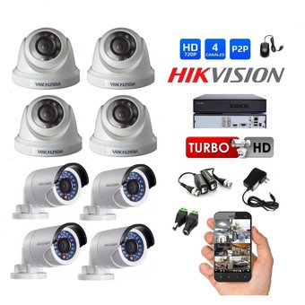Kit 8 Camaras Seguridad DVR Turbo HD 720P Hikvision