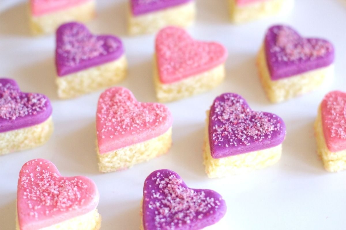 Heart-Shaped Marzipan Cut-Out Cakes