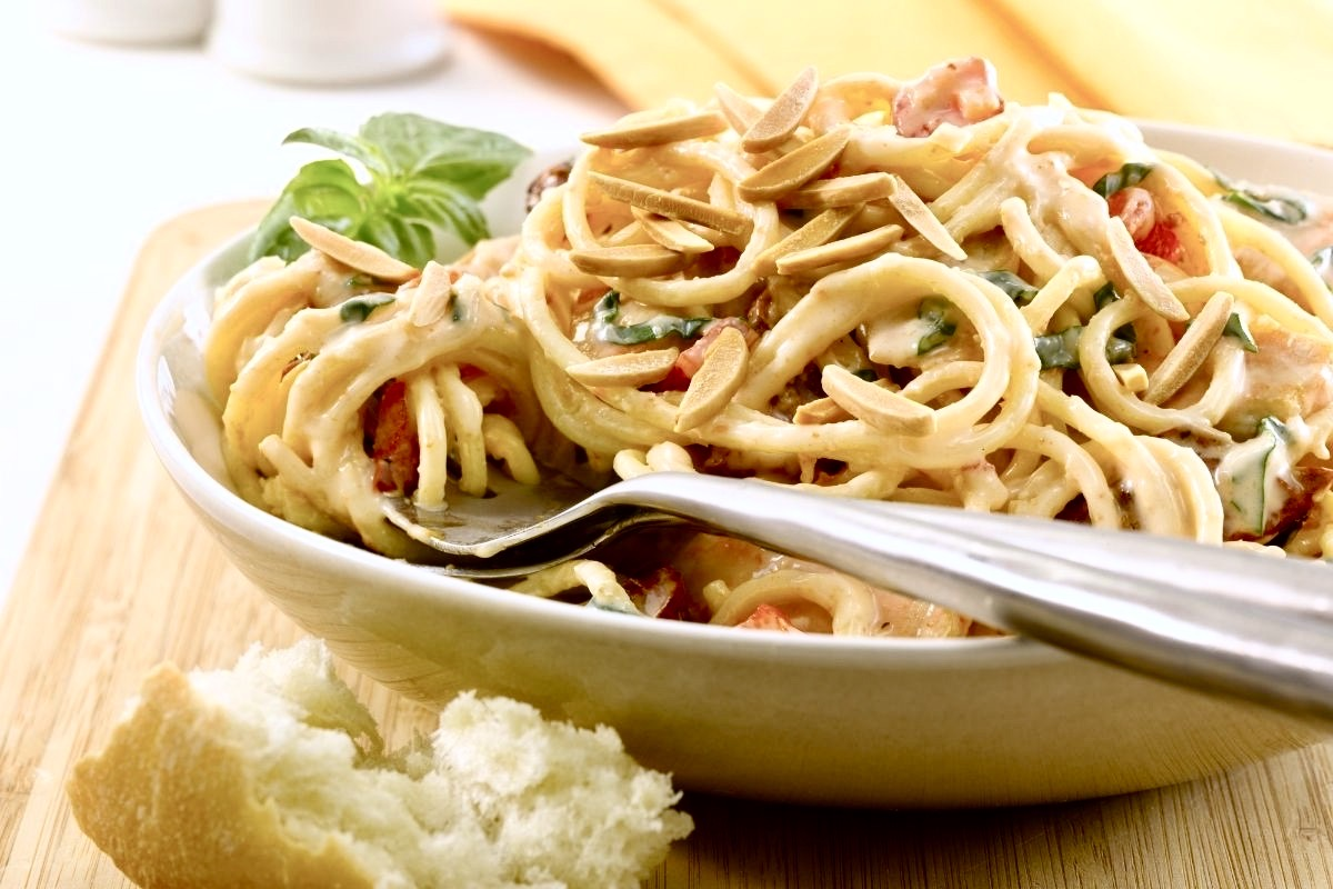 Pantry Pasta with Chicken and Almond Cream