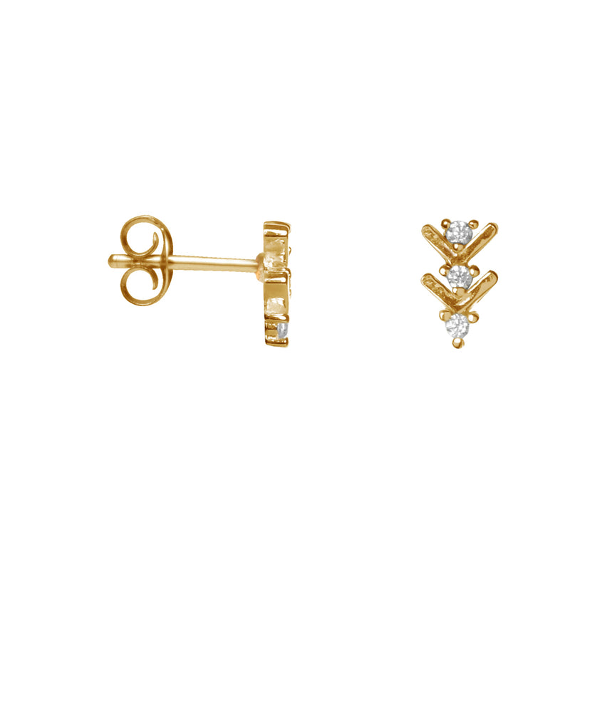 Shiny Arrow Studs - Gold