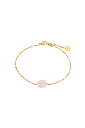 Rose Quartz Hexagon Bracelet - Gold