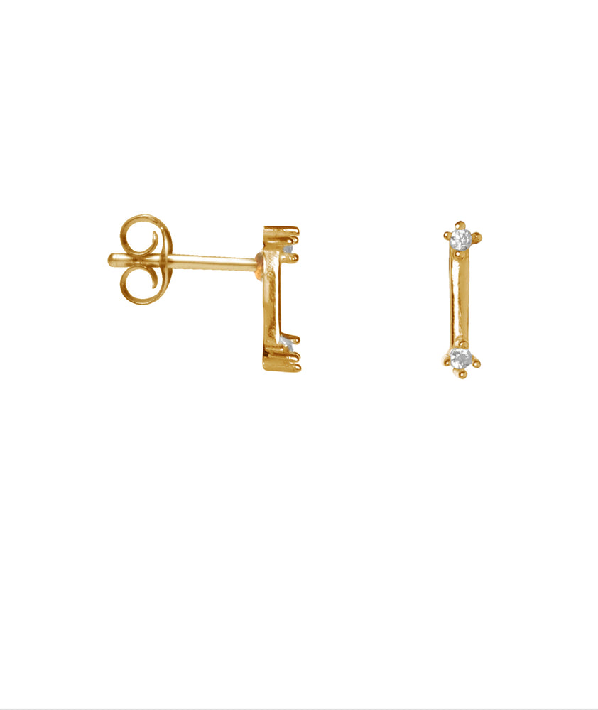 Double Shiny Bar Studs - Gold