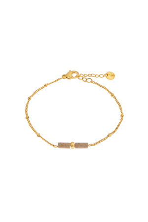 Brown Agate Tube Bracelet - Gold
