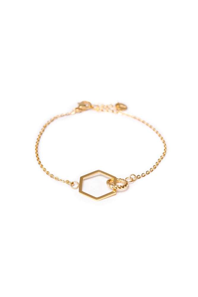 Load image into Gallery viewer, Hexagon Twist Bracelet - Gold