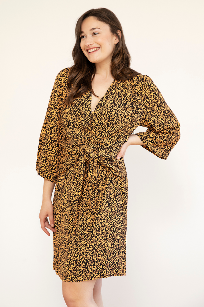Isabella Print Dress - Apricot Leaf