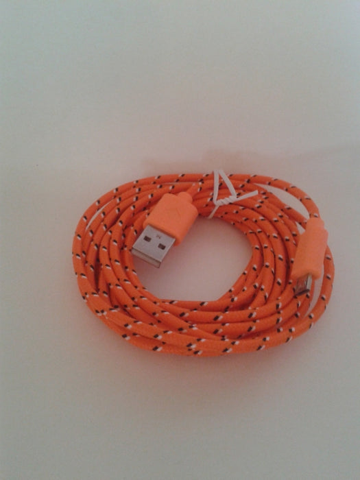 Laddkabel USB 2.0 Male till Micro-USB Male, 3 meter, tyg, orange