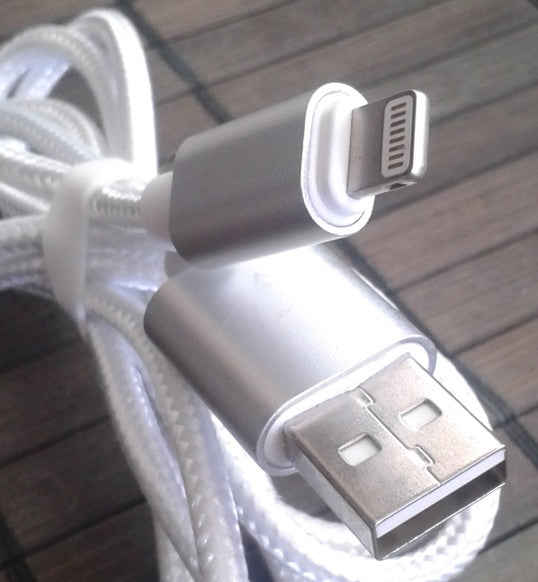 Laddkabel USB 2.0 Male till iPhone m.m., ca 1 meter, silver
