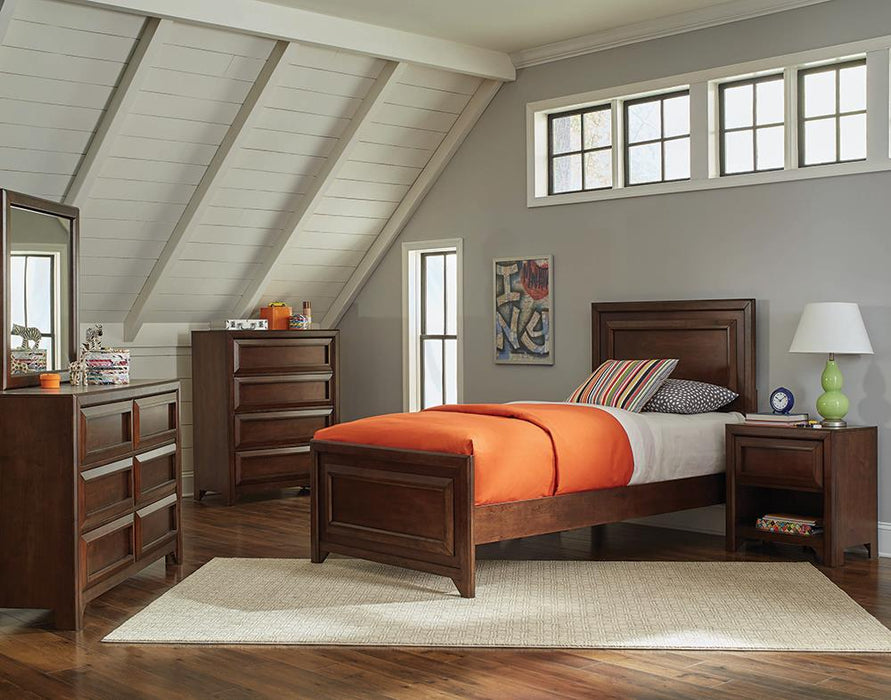 Greenough Transitional Maple Oak Full Storage Bed