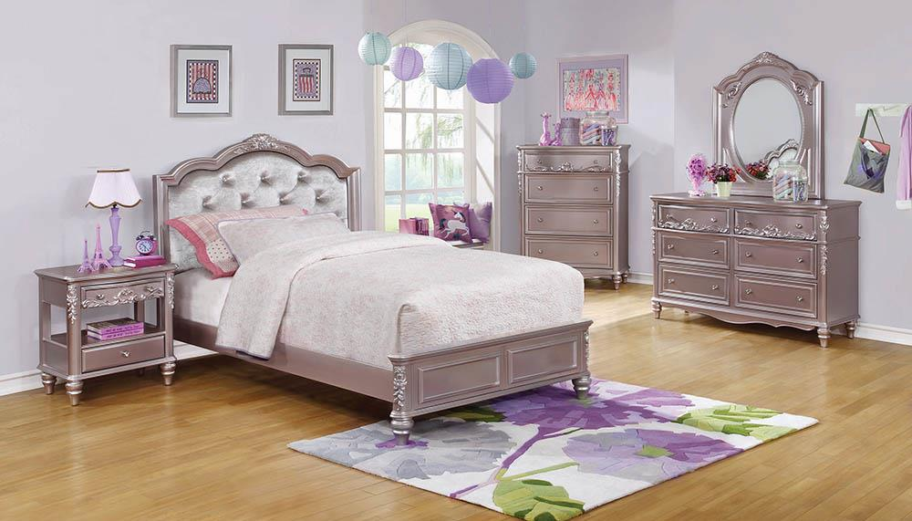 Caroline Metallic Lilac Twin Bed