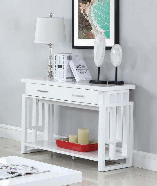 Transitional Glossy White Sofa Table image