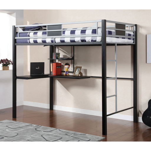 Clifton Silver/Gun Metal Full Size Loft Bed w/ Workstation image